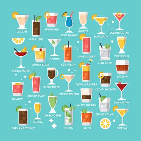 Icônes de boissons alcoolisées cocktail pour menu, web et design graphique Banque d'images - 63371982