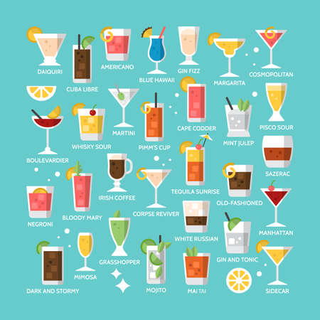 Cocktail alcohol mixed drink icons for menu, web and graphic design