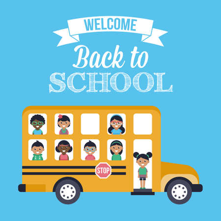 first grade: Back to school poster design with school bus and children