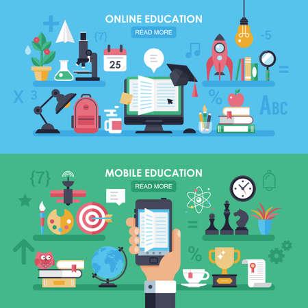 Concept de l'éducation en ligne et mobile e-learningig avec des icônes plates et des symboles pour la conception de bannière de site Web Vecteurs