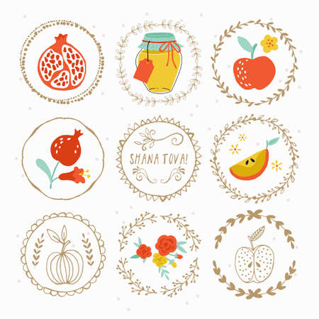 hashana: Hand drawing laurels and round frames design for Jewish New Year Rosh Hashana holiday Illustration