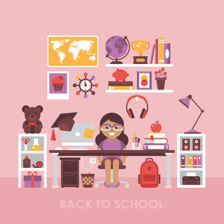 Back to school concept with workspace for girl. Child room interior with desk
