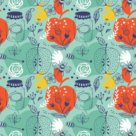 hashana: Jewish holiday Rosh Hashana seamless pattern design with apples and honey jar. Illustration