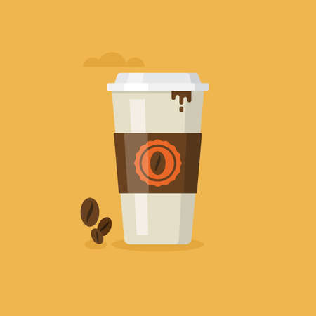 go to store: Paper coffee cup icon for web and graphic design. Coffee to go concept