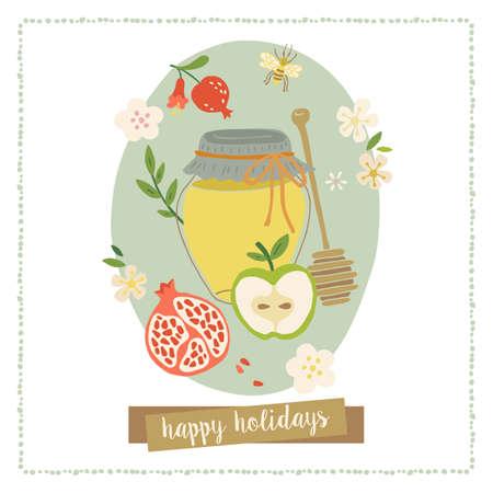 hashana: Greeting card design for Jewish New Year Rosh Hashana. Illustration