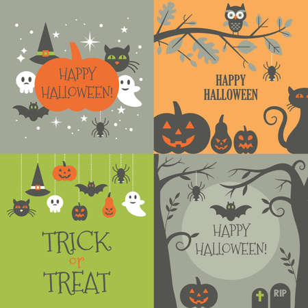 Halloween background set with decorative elements for graphic and web design