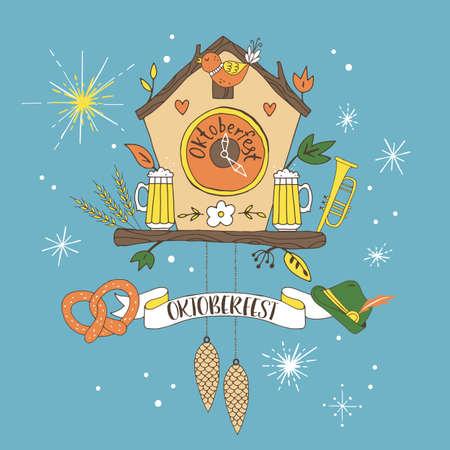 reloj cucu: Diseño del cartel del gráfico de la mano Oktoberfest con el reloj de cuco