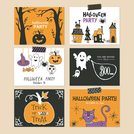 holiday invitation: Halloween holiday party invitation and greeting template set.