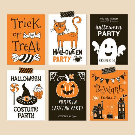 Halloween holiday party invitation template set. Illustration