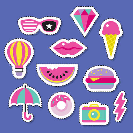 Trendy fashion chic patches, pins, badges and stickers design set.