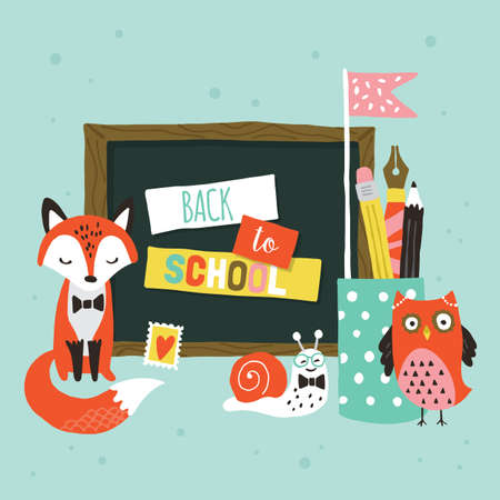 Back to school banner design with cute woodland animals.