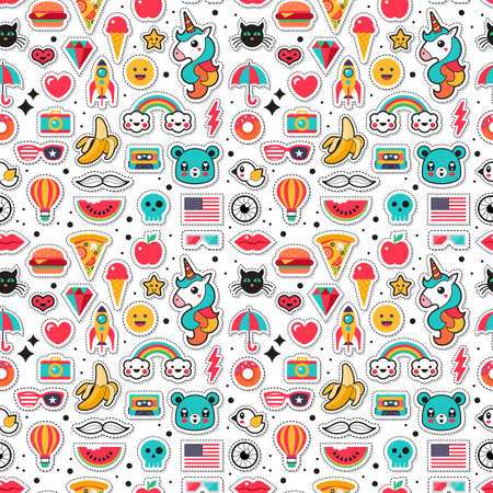 Fashion chic patches, pins, badges and stickers seamless pattern design