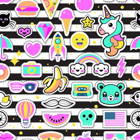 Fashion Chic patches, des épingles, des badges et des autocollants de conception seamless Banque d'images - 63372406