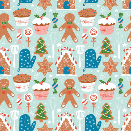 holiday cookies: Christmas holiday cookies baking seamless pattern.