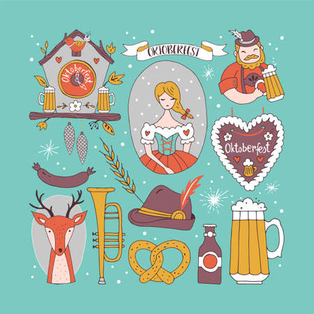 Oktoberfest hand drawing elements for graphic and web design