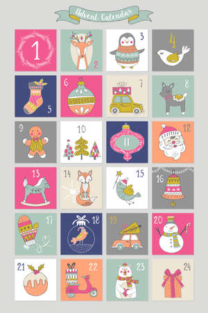 yaer: Christmas advent calendar with hand drawing elements.