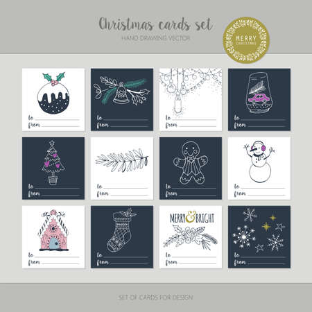 gift wrapping: Christmas greeting card set with hand drawing elements for gift wrapping.