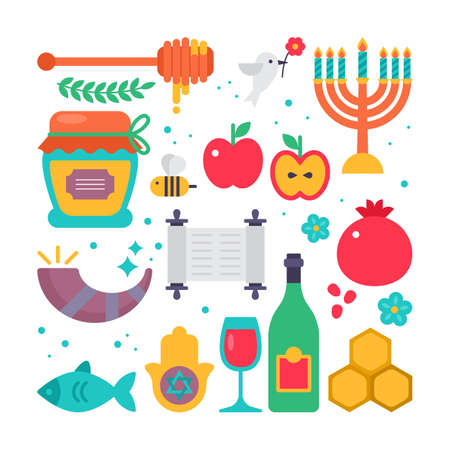 shofar: Rosh hashanah jewish new year flat modern icons set Illustration