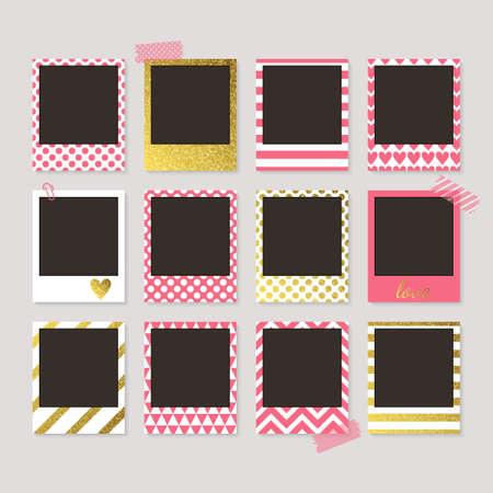 Realistische retro fotolijsten met gouden, roze en witte patronen. Sjabloon foto ontwerp.