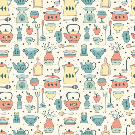 Kitchen utensil seamless pattern background with hand drawing elements Vetores