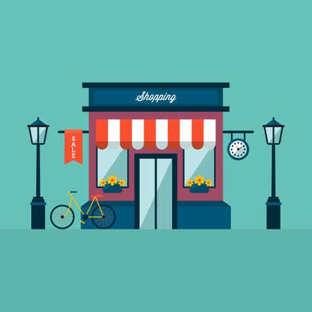 Магазин здание с Велосипедная и лампы Фото со стока - 64218819