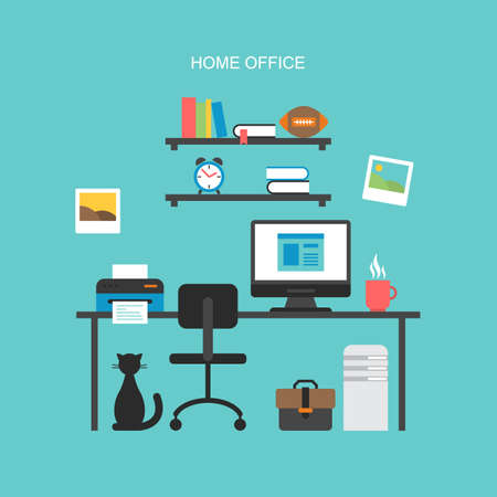 Flat icons design for modern home office concept