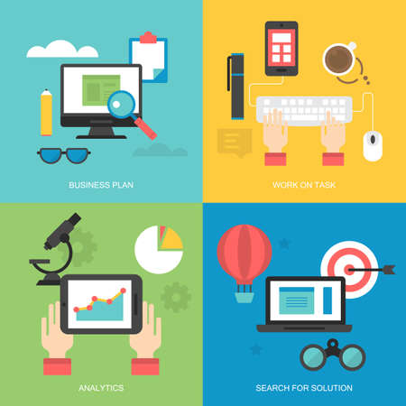 work task: Flat icons design for web services: business plan, work on task, analytics and search for solution