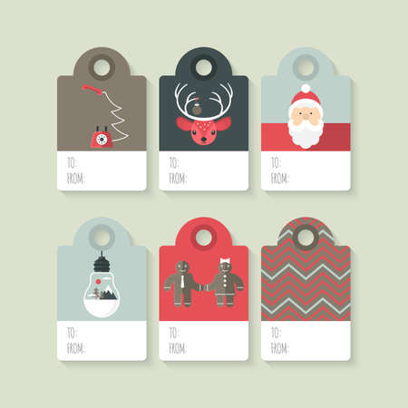 Modern Christmas gift tag flat  stylish design. Set of Christmas tags with Santa, deer, light bulb and telephone Illustration