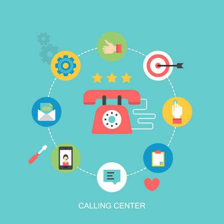 diseño de iconos plana para llamar centro de atención al cliente y concepto