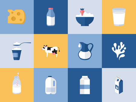 cottage cheese: Milk and dairy products icons for graphic, web and design