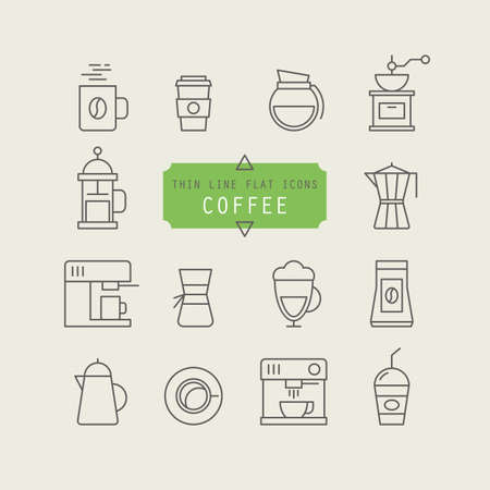 aplication: Thin line web icons for coffee