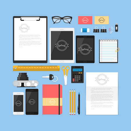 mock up: Flat mock up template for business workplace and branding design