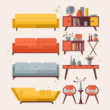 フラットな近代的なアイコンのデザインの半ば世紀の家具