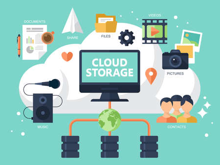 Flat modern icons for cloud storage concept