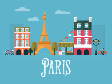 urban planning: Flat stylish vector illustration for Paris, France. Travel and tourism concept