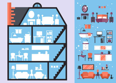modern interior: Flat modern icons for house interior