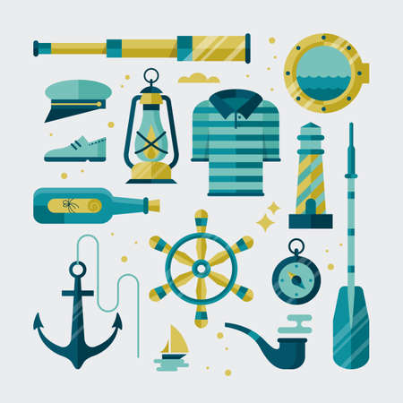 sailer: Nautical flat stylish icons Illustration