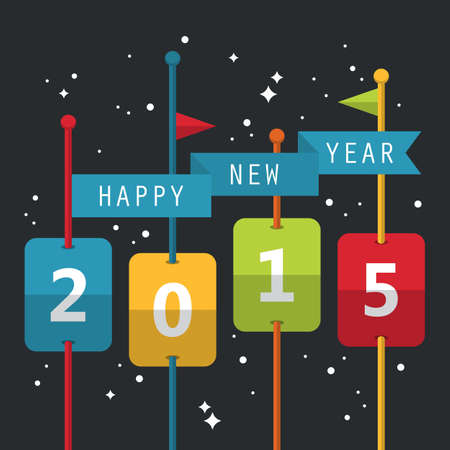 sigh: Happy New Year 2015 greeting card design in flat style