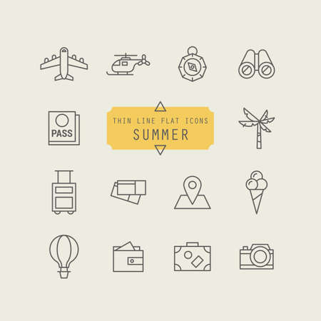 holiday vacation: Thin line icon set for summer holiday vacation