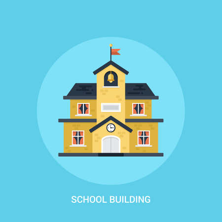 scholar: School building flat modern icon. E-learning and distance educatuon concept for web design