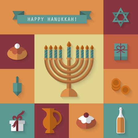 gelt: Hanukkah holiday flat modern icons Illustration