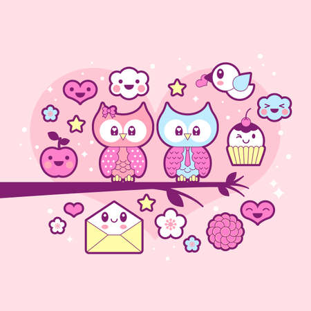 Valentines day icon set with cute owls Illustration