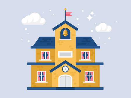 first grade: Flat modern stylish icon of school building