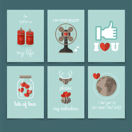 Le design jour carte de voeux de la Saint-Valentin dans un style moderne plat