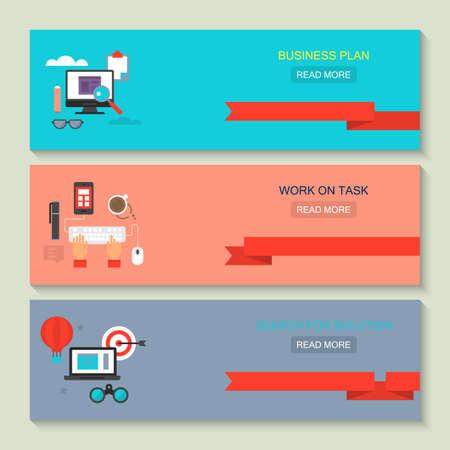 website header: Website header design for web services: business plan, work on task and search for solution Illustration