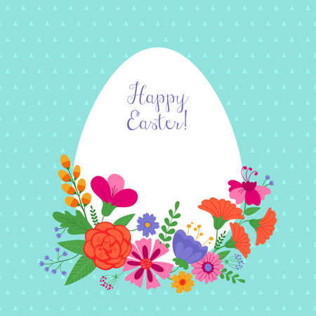 Easter holiday background with flowers
