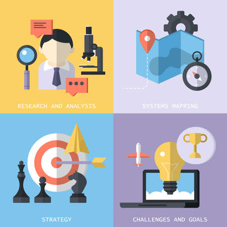 Website services concept such as research, analysis, systems mapping, strategy, challenges and goals with flat modern icons