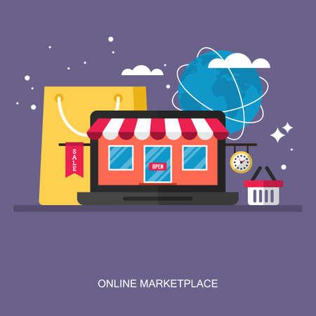 온라인 시장 개념에 대 한 평면 세련 된 디자인입니다. 웹 응용 프로그램 및 배너를위한 평면 벡터 요소 일러스트