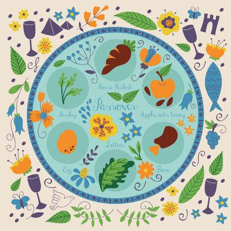 Placa de Seder de Pascua con la decoración floral Foto de archivo - 64231440