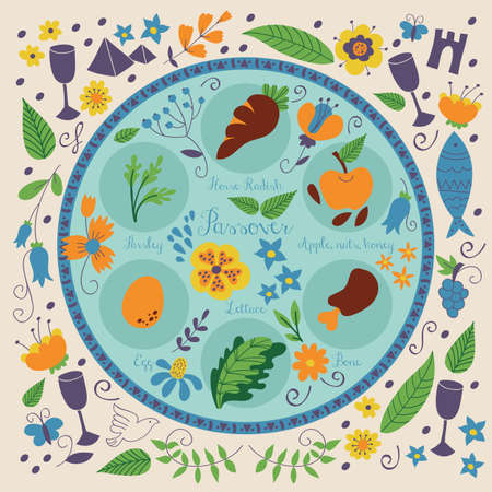 Passover seder plate with floral decoration Illustration